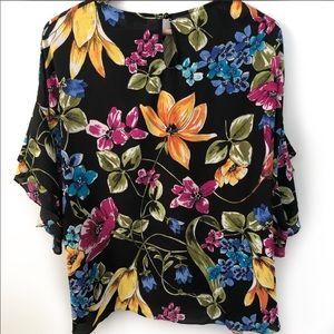 Ellen Weaver black floral blouse size 2X